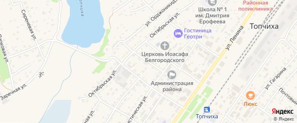 Первомайский переулок на карте села Топчихи с номерами домов