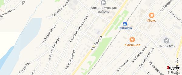 Прудовской переулок на карте села Топчихи с номерами домов