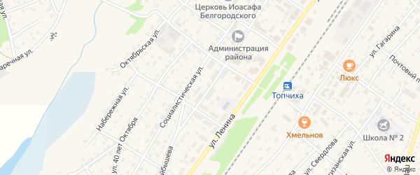 Улица Куйбышева на карте села Топчихи с номерами домов