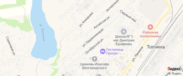 Улица Орджоникидзе на карте села Топчихи с номерами домов