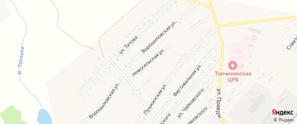 Новосельская улица на карте села Топчихи с номерами домов