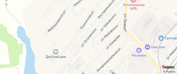 Улица Островского на карте села Топчихи с номерами домов