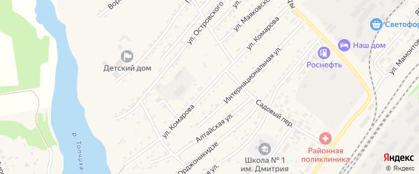 Улица Комарова на карте села Топчихи с номерами домов