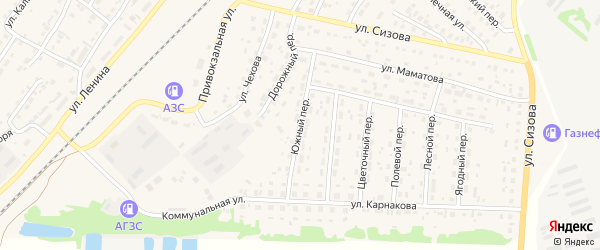 Южный переулок на карте села Топчихи с номерами домов