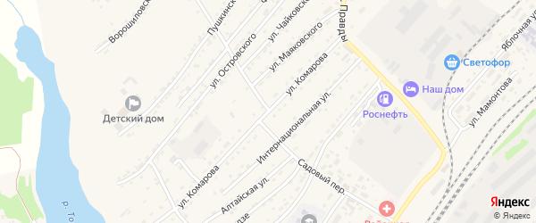 Садовый переулок на карте села Топчихи с номерами домов