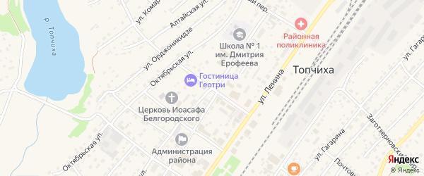 Школьный переулок на карте села Топчихи с номерами домов