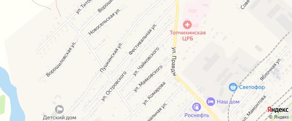 Улица Чайковского на карте села Топчихи с номерами домов