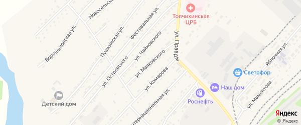 Улица Маяковского на карте села Топчихи с номерами домов