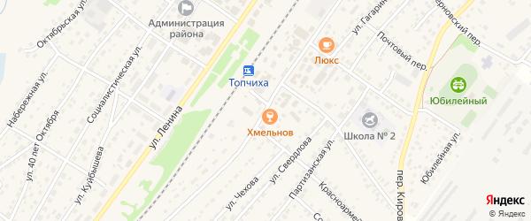 Привокзальная улица на карте села Топчихи с номерами домов