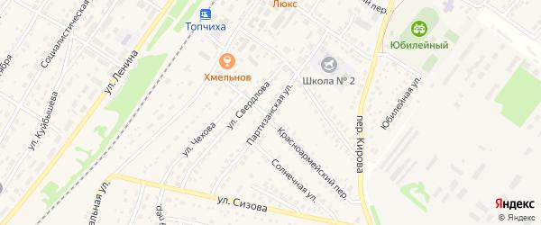 Партизанская улица на карте села Топчихи с номерами домов