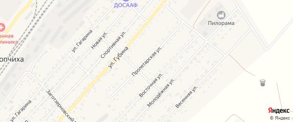Пролетарская улица на карте села Топчихи с номерами домов