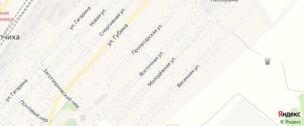 Восточная улица на карте села Топчихи с номерами домов