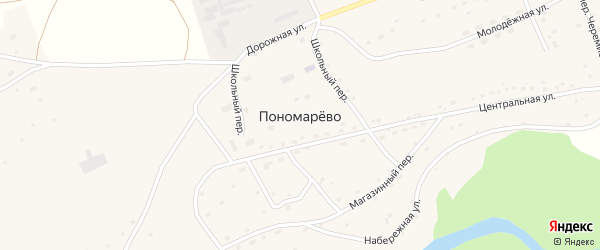 Дорожная улица на карте села Пономарево с номерами домов