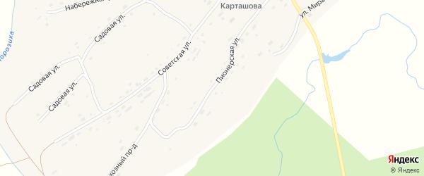 Пионерская улица на карте села Осколково с номерами домов