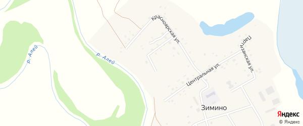 1-й Красноярский переулок на карте села Зимино с номерами домов