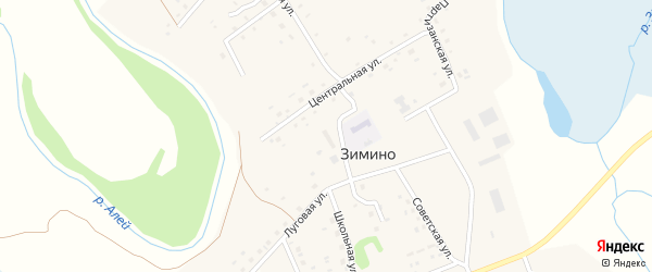 Речная улица на карте села Зимино с номерами домов