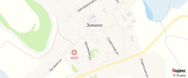 Топольный переулок на карте села Зимино с номерами домов