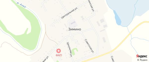 Садовая улица на карте села Зимино с номерами домов