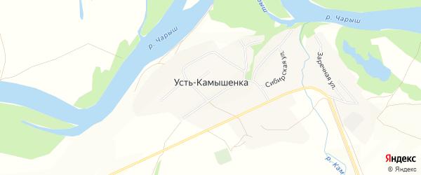 Карта села Усть-Камышенки в Алтайском крае с улицами и номерами домов