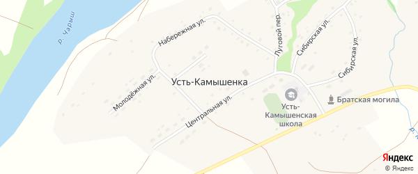 Центральная улица на карте села Усть-Камышенки с номерами домов