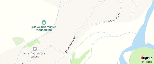 Центральная улица на карте села Усть-Пустынка с номерами домов
