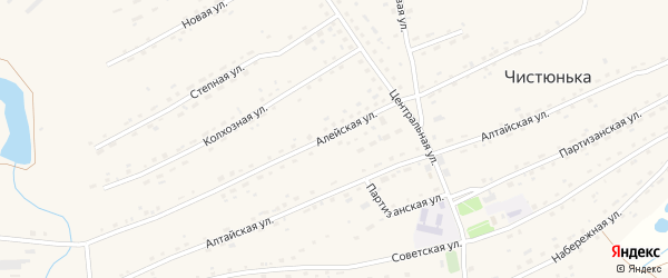 Алейская улица на карте села Чистюньки с номерами домов