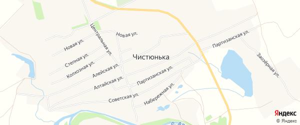 Карта села Чистюньки в Алтайском крае с улицами и номерами домов
