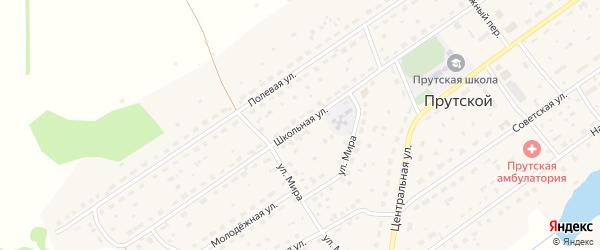 Школьная улица на карте Прутского поселка с номерами домов