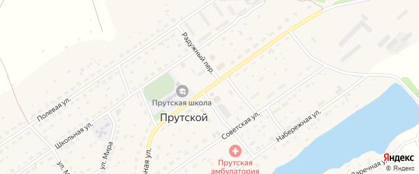 Центральная улица на карте Прутского поселка с номерами домов