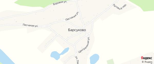 Луговой переулок на карте села Барсуково с номерами домов