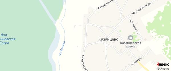 Октябрьская улица на карте села Казанцево с номерами домов