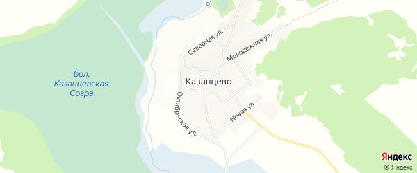 Карта села Казанцево в Алтайском крае с улицами и номерами домов
