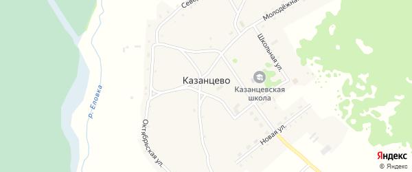 Школьный переулок на карте села Казанцево с номерами домов