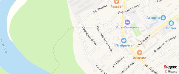 Комсомольский переулок на карте села Усть-Калманки с номерами домов