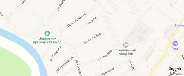 Улица Суворова на карте села Усть-Калманки с номерами домов