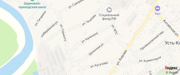 Улица Калинина на карте села Усть-Калманки с номерами домов