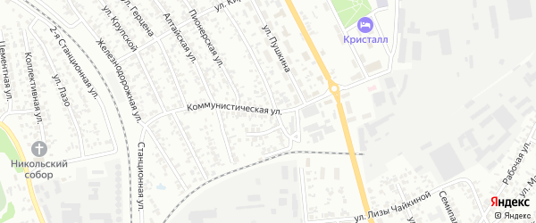 Коммунистическая улица на карте Искитима с номерами домов