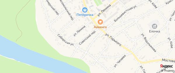 Советский переулок на карте села Усть-Калманки с номерами домов