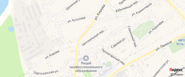 Центральный переулок на карте села Усть-Калманки с номерами домов