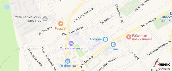 Переулок Дзержинского на карте села Усть-Калманки с номерами домов