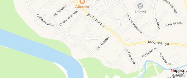 Переулок Чапаева на карте села Усть-Калманки с номерами домов