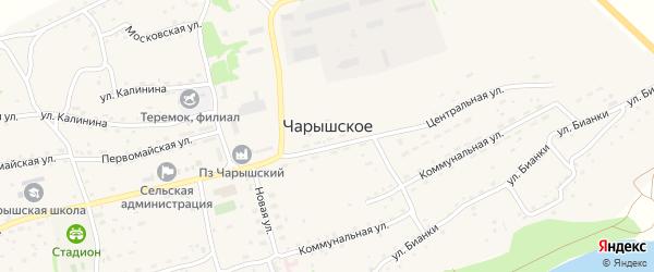 Коммунальная улица на карте Чарышского села с номерами домов