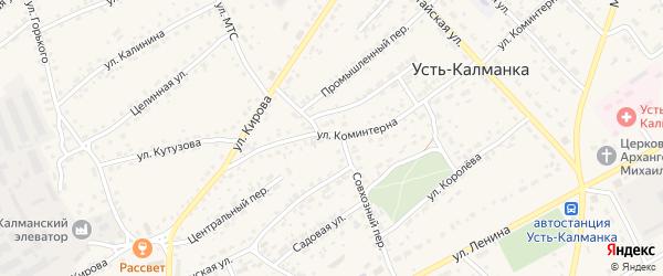 Строительный переулок на карте села Усть-Калманки с номерами домов