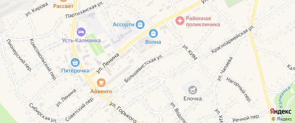 Большевистская улица на карте села Усть-Калманки с номерами домов