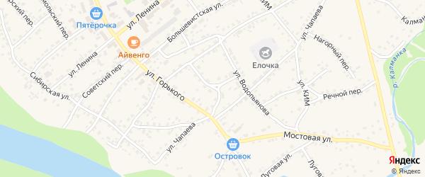 Школьный переулок на карте села Усть-Калманки с номерами домов