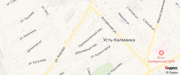 Промышленный переулок на карте села Усть-Калманки с номерами домов