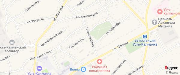 Совхозный переулок на карте села Усть-Калманки с номерами домов