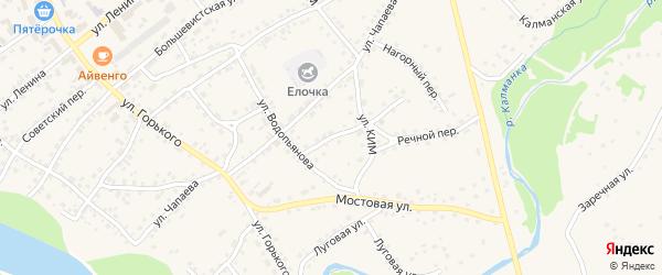 Переулок Водопьянова на карте села Усть-Калманки с номерами домов