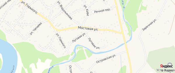 Луговая улица на карте села Усть-Калманки с номерами домов