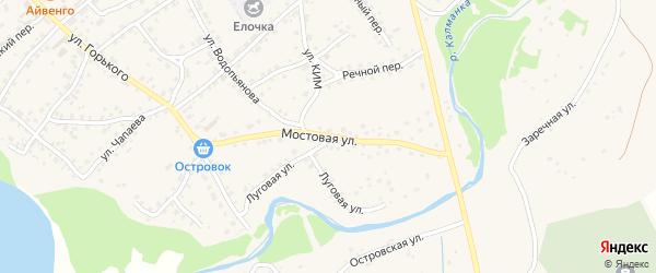 Мостовая улица на карте села Усть-Калманки с номерами домов